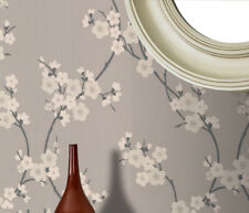 Superfresco Cherry Blossom Floral Taupe/Grey Metallic Glitter Wallpaper