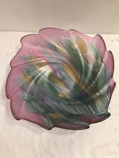 VERY COLORFUL GLASS CENTER BOWL BY NOUVEAU ART AND GLASS COMPANY