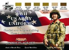 LIFECOLOR US Army WWII Class A Uniforms #1 Acrylic Paint Set 6 22ml Bottles