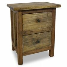 vidaXL Solid Reclaimed Wood Nightstand w/ 2 Drawers Bedside Table Cabinet