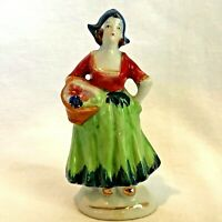 """Dutch Girl Figurine Made In Occupied Japan Basket Of Flowers Native Costume 4"""""""