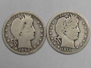2 US Barber Quarters: 1896 & 1915.  #23