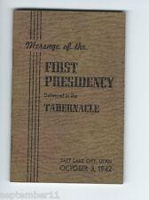 Message First Presidency Delivered Tabernacle Salt Lake City, Utah, Morman 1942
