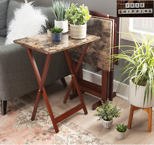Linon5-Piece Wood and Faux Marble Folding TV/Snack Tray Table Set,Multiple Color