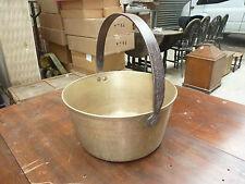 Large vintage brass cooking pot Antique metal jam pan Iron handle fireplace