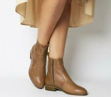 Womens Office Tan Leather Zip Ankle Boots Size UK 7 *Ex-Display