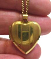 "VINTAGE 12K GOLD FILLED HEART LOCKET ON CHAIN NECKLACE 17""   4.3 GRAMS"