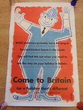 More details for come to britain 1953 happy policeman linen backed uk travel poster salter art