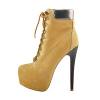 Onlymaker Women's Yellow Round Toe Lace-up Ankle Booties Platform Stiletto Shoes