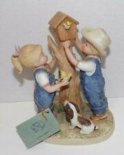 Vtg 1985 Homco Denim Days #8888 Our Birdhouse Danny Debbie Boy & Girl Figurine