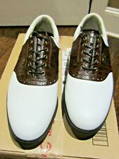 FootJoy DryJoys White Brown Golf Shoes Croc Saddle 53558 Men's 53558
