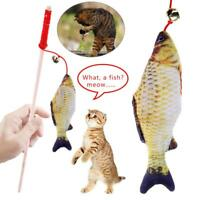 Pet Cat Kitten Toys Fish Tease Rod Teaser Stick w/ Bell Catnip Funny Playing Toy