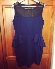 New! JANE NORMAN Blue Sheer Panel Peplum Shift Wiggle Dress - 16