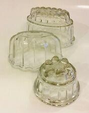 Glass Jelly Moulds Blancmange Moulds Vintage Kitchenalia Cookware Puddings