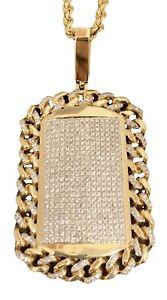 """Men's 4.30ct Round Diamond 14K Yellow Gold 70.5 gram 23"""" Rope Chain Dog Tag"""