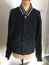 VERSUS VERSACE designer dark blue luxury soft leather jacket Harrington 40 54