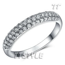 TT Sparkling Clear CZ Micro Pave Eternity Engagement Wedding Ring Size 5-8 RF79