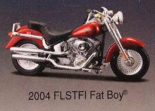 HARLEY DAVIDSON RED 2004 FLSTFI FAT BOY MAISTO 1:18 SCALE DIECAST METAL BIKE