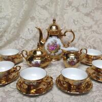 Vintage Rare, German, Gilded 17pc Tea Set