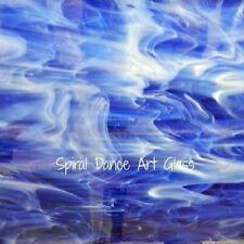 8x10 Spectrum Lt Powder Blue White Wispy Translucent Stained Glass Sheet S339.2