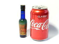 More details for 19thc burst lip castor oil cobalt bottle original paper label & cork 12cm