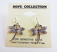 Silver Dragonfly Earrings Drop Dangle Silver Base Metal Fish Hook Fasteners