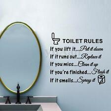 Removable Toilet Rules Wall Sticker Vinyl Art Decal Bathroom Restroom Home Decor