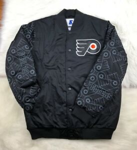 Philadelphia Flyers NHL Graffiti Retro Starter Winter Jacket, Black, Men's M NWT