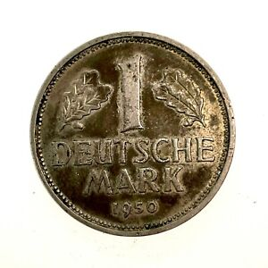 GERMANY, WEST, 1950-J, 1 MARK, COPPER NICKEL, KM#110, CHOICE AU/MS.