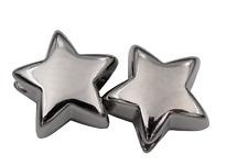 moderne Kordel Enden Metall Silber glänzend Stern förmig 16mm 2 Stück
