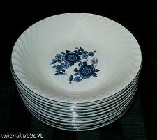 6 WedgWood China Royal Blue White Floral Dessert Bowls