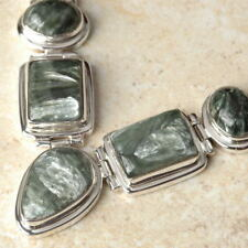 """Genuine .925 Silver Green SERAPHINITE Gemstone NECKLACE 18"""" ~ Up to 340 carats!"""