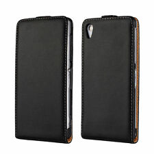 Black Genuine Leather Real Leather Slim Flip Case Cover For Sony Xperia Z2