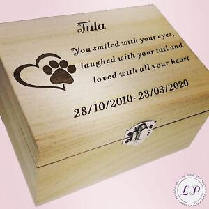 Memorial Box Ashes Memory Casket Wooden Keepsake Case Personalised Wood Pet Urn