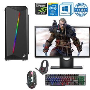 Fast Gaming PC Computer Bundle Intel Quad Core i5 16GB 1TB Win10 2GB GT710 SSD