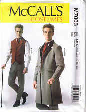 Mens Victorian Steampunk Vest Coat Pants Tie Costume Sewing Pattern S M L XL XXL