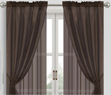 6-Piece Set Faux Silk Rod Pocket Window Curtain Panel Tiebacks Chocolate Brown