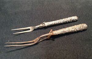 Two(2) Early S. Kirk Repousse Sterling Silver Handled Meat Forks
