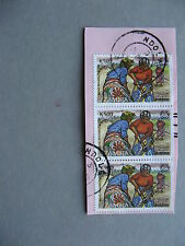 ZAMBIA, used strip of 3 on fragment revalued overprinted stamps ILO agriculture
