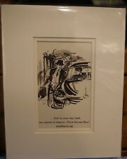 Vintage Advertisement mounted  to frame Four square blue tobacco 1955