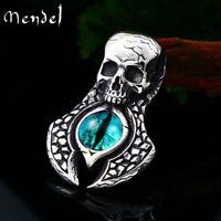 MENDEL Mens Blue Evil Eye Punk Biker Skull Pendant Necklace Stainless Steel Men