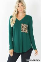 Women's Green Long Sleeve V- Neck W/ Leopard Print Pocket Sm-3x Tee Shirt Top