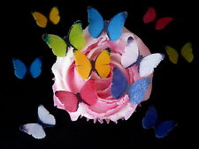 30 PRE-CUT BRIGHT MIXED BUTTERFLIES EDIBLE RICE WAFER PAPER CUP CAKE TOPPERS