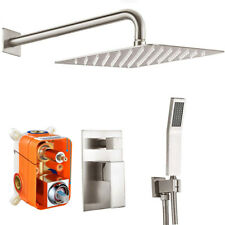 Bathroom Rainfall Shower Faucet Set Brushed Nickel Wall Mounted Combo System