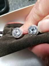 John Hardy BATU SARI Earrings 18K Gold, White Topaz, Sterling Silver