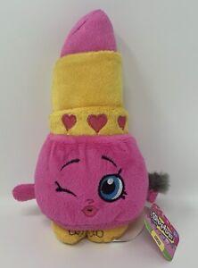 """Fiesta Shopkins Lippy Lips Lipstick Plush Stuffed Animal Toy Pink Yellow 8.25"""""""