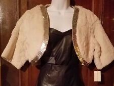 Oyster Genuine Rabbit Fur Bolero w Sequins from Lord & Taylor, S/M, NWT