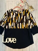 Cos Size M 12 14 navy patterned long sleeve boxy casual t shirt loose fit VGC