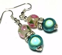 Turquoise Pink Bead Earrings, vintage style, Studs, Clip on or 925 Silver Hooks