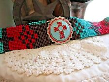 cross Native Style Handmade Red Seed Beaded AZTEC TURQUOISE Cowboy Belt STRETCH